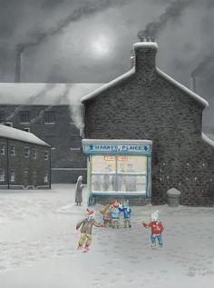 Little Charlies Got Chips (Canvas) by leigh lambert at generation gallery Contemporary Artwork, Contemporary Artists, Leigh Lambert, Victoria City, Manchester Art, Children's Book Illustration, Illustrations, Building Art, Art For Art Sake