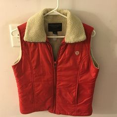 American Eagle Outfitter Vest Sz S/P Beautiful red AEO puffer style vest lined with creamy tan fur.  Super cute.  Barely worn, like new condition. American Eagle Outfitters Jackets & Coats Vests