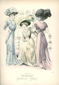 Walking dresses, 1908 the Netherlands, De Gracieuse