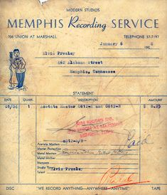 Statement for Elvis Presley from the Memphis Recording Service ( Sun Records ) in Memphis.