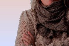 """Lace Scarf for women/ladies """"Gabriola Island"""", hand knit in luxurious pure Qiviut (Muskox underdown) - READY TO SHIP Lace Scarf, Womens Scarves, Brown And Grey, Knits, Hand Knitting, Cashmere, Hands, Pure Products, Island"""