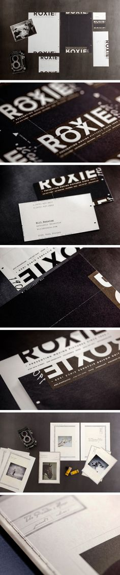 MM . MARKATOS & MOORE - Roxie Theater identity bold and yet vintage nostalgia film strip styling texture