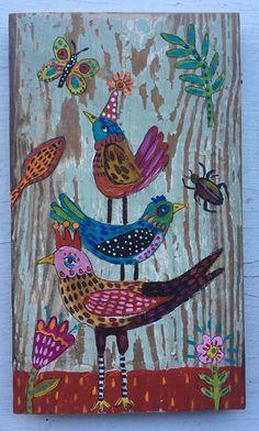Pequeño arte popular pájaro pintura sobre madera por evesjulia12