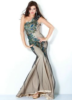 Gorgeous Satin And Tulle Sweep Train One-Shoulder Appliques And Beading #Evening #Dress