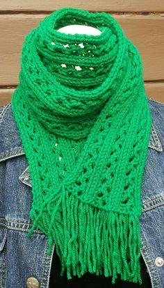 Kelly Green Scarf Eyelet Lace Knit St Patrick's Day by stinkR, $25.00