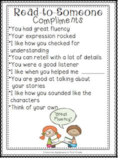 Read-to-Someone compliments - mini anchor chart & personal anchor cards {freebie}