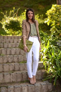 lovely Pepa white pants (We are selecters t-shirt, Zara pants, sandals, Queen's Wardrobe jacket, Ziba Collection necklace, Parfois clutch, Marc by Marc Jacobs watch)