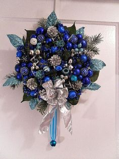 Holiday Twilight Christmas Door Decor  Blue Silver by EvesWreaths, $55.00