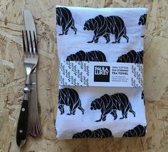 Black Bear Silkscreened Tea Towel Cotton Flour Sack - Art Kitchen - 28x29 inches by PaulaLukeyDesign on Etsy