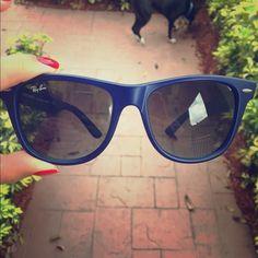 Blue Ray Ban Wayfarer Sunglasses Ray-Ban Navy Blur wayfarer sunglasses mirrored and polarized authentic. Ray-Ban Accessories Sunglasses