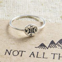 'Not All Who Wander' Silver Compass Ring - women's jewellery