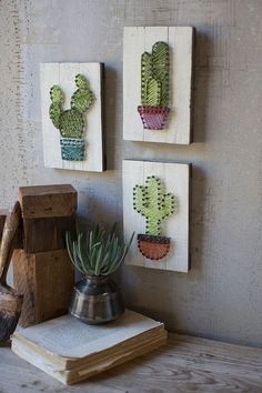 set of 3 cactus string art on wooden plaques The cactus trend isn't going anywhere! With this set of string art cacti on wooden plaques, we added a new spin on it. The plaques can be hung on the wall but are also thick enough to be able to sit alone Cute Crafts, Diy And Crafts, Arts And Crafts, String Art Diy, String Crafts, Cactus Care, Cactus Cactus, Cactus Flower, Cactus Print