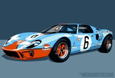 FORD Gulf GT40 - Car Art - Vintage race car - art print size 8x10. $30.00, via Etsy.