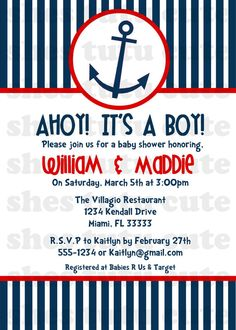 Ahoy It's a Boy Nautical Baby Shower Invitation by ShesTutuCuteBtq, $11.00