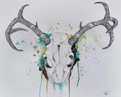 Deer Skull Art - buck - hunt - wildlife art - sketch - pen ink watercolor
