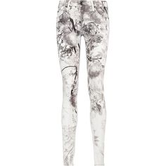 MOTHER  The Looker printed low-rise skinny jeans (4.275 UYU) ❤ liked on Polyvore featuring jeans, 5 pocket skinny jeans, low rise white skinny jeans, mother jeans, button-fly jeans and white skinny leg jeans