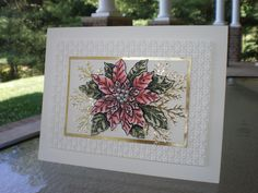Embossed Christmas Poinsettia~ by stampin'nana - Cards and Paper Crafts at Splitcoaststampers Poinsettia Cards, Christmas Poinsettia, Christmas In July, Christmas Colors, Karen Barber, Holiday Cards, Christmas Cards, Gold Foil Paper, Blender Pen
