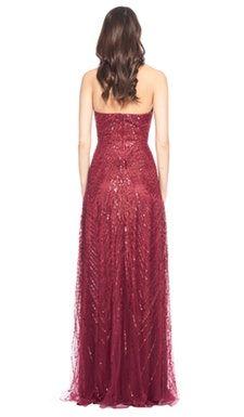 Red Embellished Halter Neck Gown - David Meister - Back