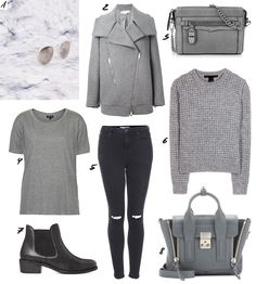 THE DASHING RIDER Greyscaled Cravings / Le Specs Hey Macarena White Sunglasses, Stella Mccartney Biker Coat, Rebecca Minkoff Mini Crosby Crossbody Charcoal Suede, Topshop Grey Shirt, Topshop Jamie Jeans, Marc by Marc Jacobs Walley Knit Jumper, Park Lane Leather Boots, 3.1 Phillip Lim Pashli Grey. More on www.thedashingrider.com