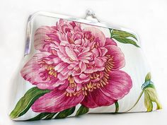 Peony Flower Wedding Purse Bag Clutch  Bridesmaid Gift by Lolis Creations.