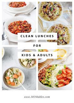 These clean lunches for both kids and adults are healthy for everyone of any age! Clean Dinner Recipes, Easy Clean Eating Recipes, Clean Dinners, Lunch Recipes, Whole Food Recipes, Easy Meals, Healthy Eating, Clean Lunches, Eat Lunch