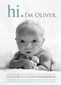 Hi Birth ANNOUNCEMENT  Photo Baby Announcement  Boy  par babybaloo