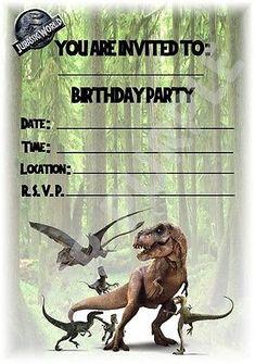 Kids Childrens Party Invitations X 12 - Jurassic World Forest Design Dinosaur Party Invitations, Birthday Party Invitations, Jurassic World, Lego Jurassic, Birthday Party At Park, Birthday Ideas, 5th Birthday, Dinosaur Birthday Cakes, Forest Design