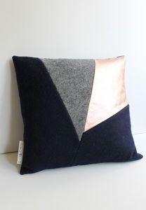 FELT CUSHION WITH COPPER LEATHER by Grotkop Collection