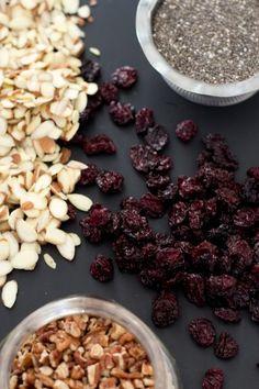 nuts, chia seeds, dried cherries