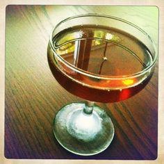 The Blamhattan:  makers mark, antica carpano vermouth, balsamic vinegar-brandy-cherry jam, angostura bitters