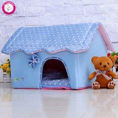 Lindo plegable pequeña casa del animal doméstico suave acolchada espumas cachorro cama de plumas Dot impresión desmontable perreras para Chihuahua(China (Mainland))