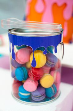 Colorful macarons at an Art Party!   See more party ideas at CatchMyParty.com!  #partyideas #art