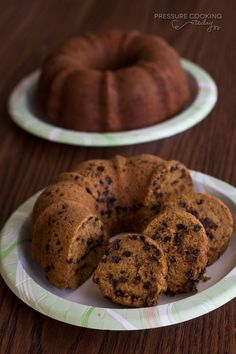 """Did you know you can """"bake"""" a cake in the pressure cooker? A bundt cake version of my family's favorite Pumpkin Chocolate Chip Bread. It's moist, tender and loaded with the sweet, delicious flavors of fall."""