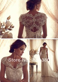 Free Shipping!!2014 New Design  Gorgeous Sheer V Neck Off Shoulder Anna Campbell Gossamer Collection Chiffon Wedding Dress -in Wedding Dresses from Apparel & Accessories on Aliexpress.com