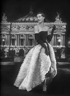 Sophie Malgat wearing a gown in black mousseline and white tulle, 1951 by dovima_is_devine_II, via Flickr
