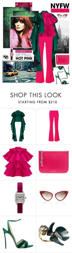 """""""Win It! NYFW Trend Spotting: Hot Pink"""" by carola-corana ❤ liked on Polyvore featuring Mary Katrantzou, Alexander McQueen, Charles Oudin, Casadei, Marni, contestentry and NYFWHotPink"""
