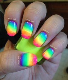 Pretty Neon Nail Art Designs for Your Inspiration Neon Nail Art, Neon Nails, Love Nails, My Nails, Crazy Nails, Rainbow Nail Art Designs, Neon Nail Designs, Nails Design, Pretty Nail Art