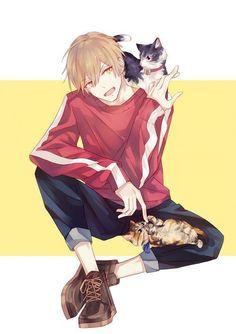 Kinda looks like Natsume Nyanko-sensei would be jealous Chica Anime Manga, Fanarts Anime, Anime Neko, Manga Boy, Kawaii Anime, Anime Characters, Cool Anime Guys, Hot Anime Boy, Handsome Anime Guys