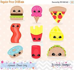 80% OFF - INSTANT DOWNLOAD, kawaii junk food clipart and vectors for personal and commercial use