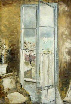 ◇ Artful Interiors ◇ paintings of beautiful rooms - PAUL NASH Through a Window, Riviera (c.1927)