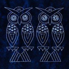 Two Owls Sashiko design by Sylvia Pippen