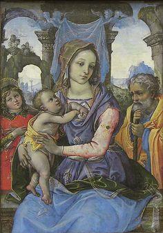 Raffaellino del Garbo (also known as Raffaelle de' Capponi and Raffaelle de' Carli, 1466?–1524), Madonna and Child with Saint Joseph and an Angel
