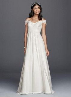 A-Line/Princess Off-the-Shoulder Sweep Train Chiffon Wedding Dress With Ruffle