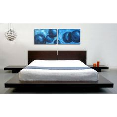 king modern japanese style platform bed with headboard and 2 nightstands in espresso - Japanese Platform Bed