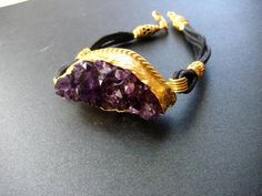 22K Gold plated Amethyst gemstone with leather by NKcollection, $45.00