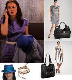 On Blair: Christian Dior Resort 2010 Silk Ottoman Polka Dot Dress, Foley + Corinna Jet Setter Jr. Tote, Christine A. Moore Hat