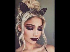 Dramatic Fall Black Smokey Eye with Dark Burgandy Lip - YouTube