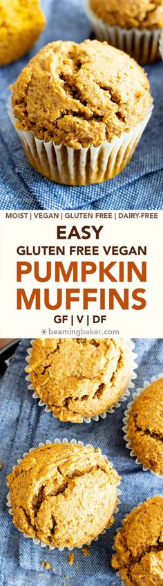 Easy Vegan Gluten Free Pumpkin Muffins Recipe (V, GF): an easy recipe for moist ., Vegan Gluten Free Pumpkin Muffins Recipe (V, GF): an easy recipe for moist 'n fluffy pumpkin muffins bursting with your favorite fall spices. Gluten Free Recipes For Breakfast, Gluten Free Desserts, Dairy Free Recipes, Vegan Desserts, Baking Recipes, Dessert Recipes, Recipes Dinner, Pasta Recipes, Crockpot Recipes