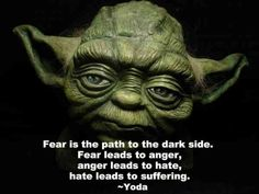 Read Complete Fear is the path to the dark side. Fear leads to anger. Anger leads to hate. Hate leads to suffering . Yoda Quotes, Fear Quotes, Movie Quotes, Life Quotes, Anger Quotes, Quotable Quotes, Wisdom Quotes, Success Quotes, Fear Leads To Anger