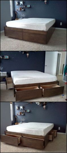 How To Build A Bed With Drawers Do you need more storage in your bedroom, but lack the floor space for cabinets? The space under the bed is great for extra storage, but the dust bunnies can get annoying. This system will give you heaps of organised storage without the dust.